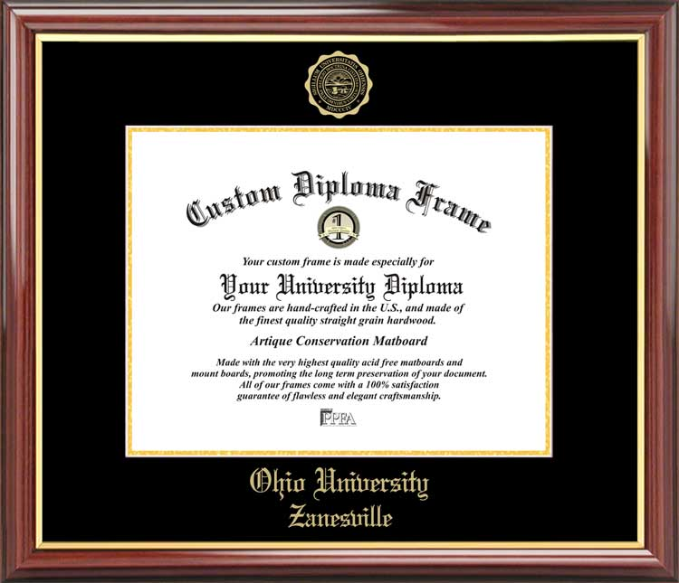College - Ohio University Zanesville  - Embossed Seal - Mahogany Gold Trim - Diploma Frame