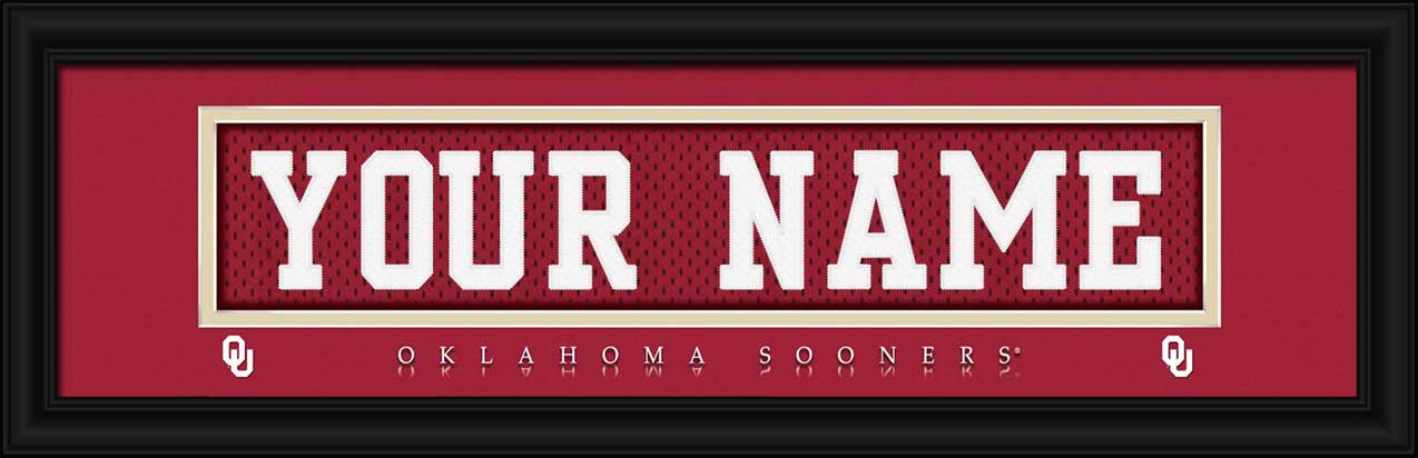 College - Oklahoma Sooners - Personalized Jersey Nameplate - Framed Picture