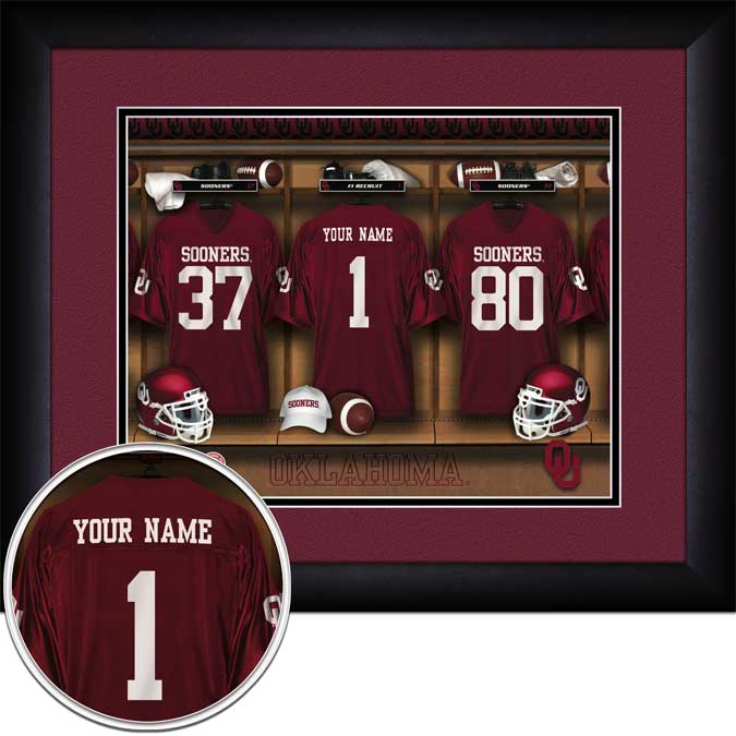 College - Oklahoma Sooners - Personalized Locker Room - Framed Picture