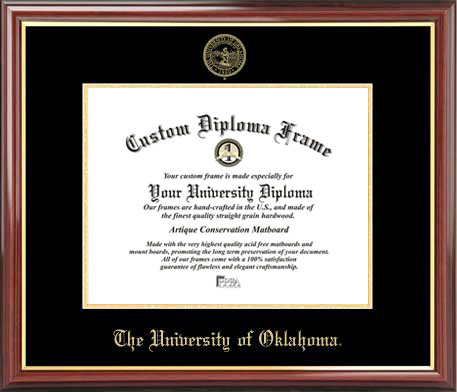College - University of Oklahoma Sooners - Embossed Seal - Mahogany Gold Trim - Diploma Frame