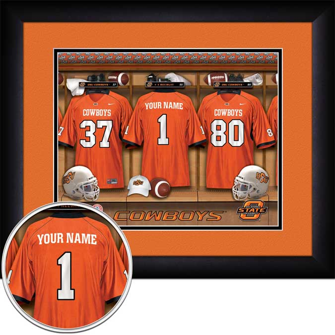 College - Oklahoma State Cowboys - Personalized Locker Room - Framed Picture