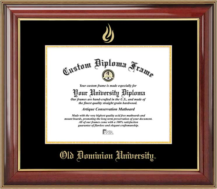 College - Old Dominion University Monarchs - Embossed Seal - Mahogany Gold Trim - Diploma Frame
