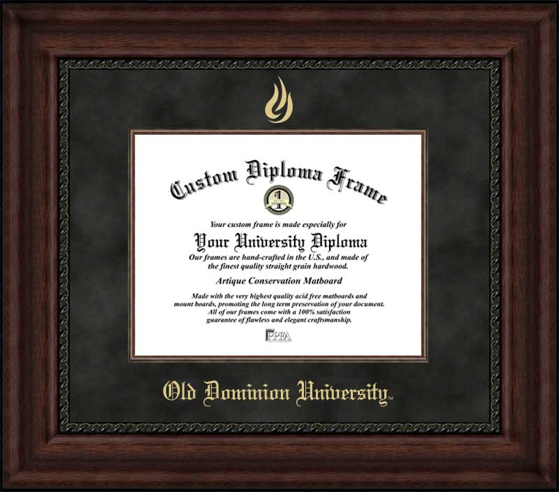 College - Old Dominion University Monarchs - Embossed Seal - Suede Mat - Mahogany - Diploma Frame