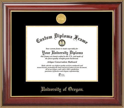 College - University of Oregon Ducks - Gold Medallion - Mahogany Gold Trim - Diploma Frame