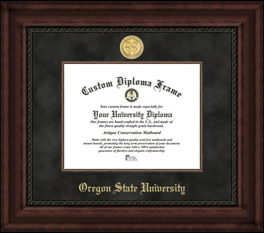 College - Oregon State University Beavers - Gold Medallion - Suede Mat - Mahogany - Diploma Frame