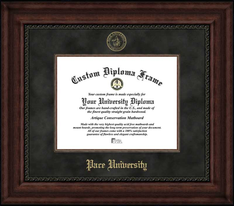 College - Pace University Setters - Embossed Seal - Suede Mat - Mahogany - Diploma Frame