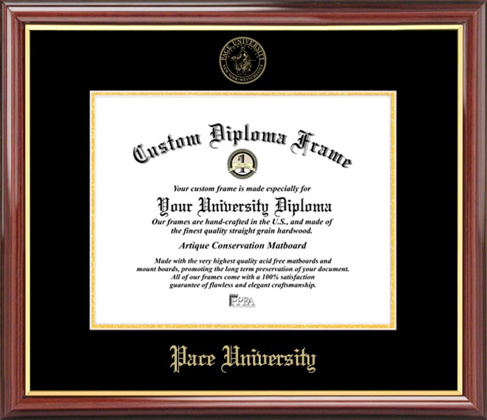College - Pace University Setters - Embossed Seal - Mahogany Gold Trim - Diploma Frame