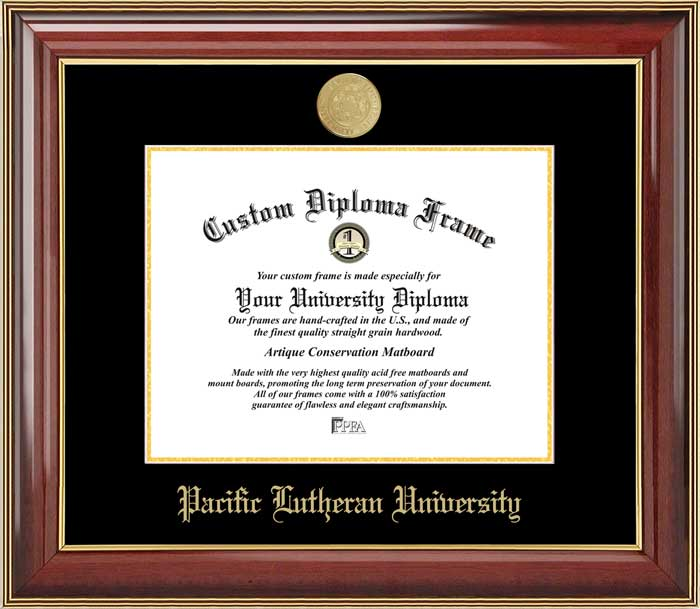 College - Pacific Lutheran University Lutes - Gold Medallion - Mahogany Gold Trim - Diploma Frame