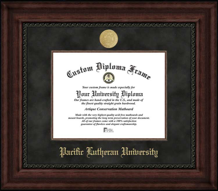 College - Pacific Lutheran University Lutes - Gold Medallion - Suede Mat - Mahogany - Diploma Frame