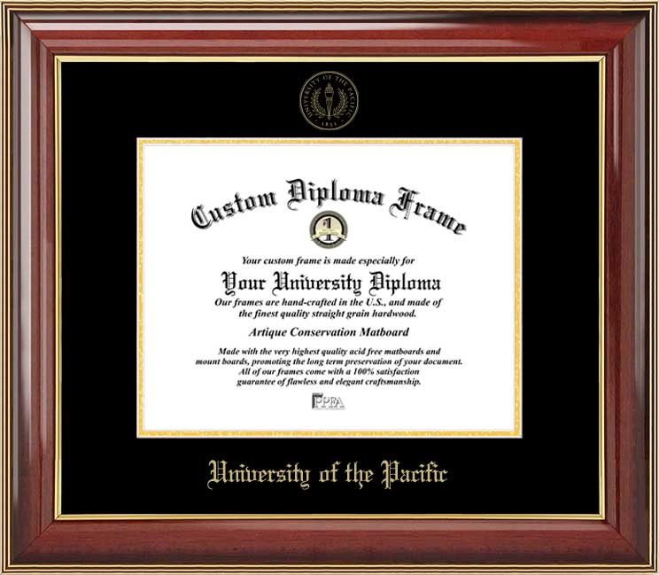 College - University of the Pacific Tigers - Embossed Seal - Mahogany Gold Trim - Diploma Frame