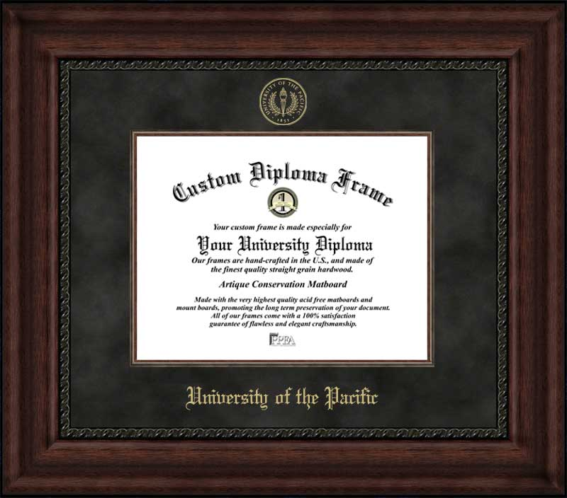 College - University of the Pacific Tigers - Embossed Seal - Suede Mat - Mahogany - Diploma Frame