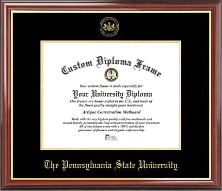 College - Pennsylvania State University Nittany Lions - Embossed Seal - Mahogany Gold Trim - Diploma Frame