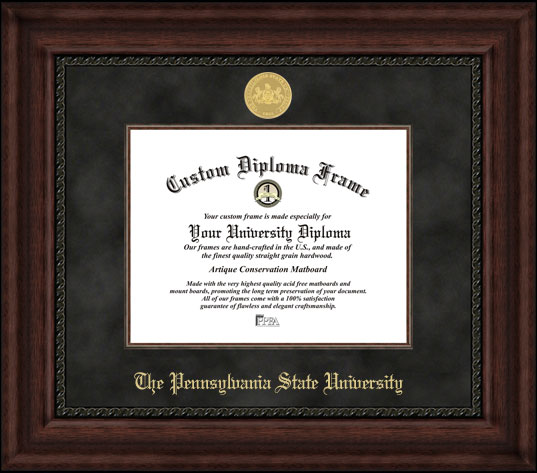 College - Pennsylvania State University Nittany Lions - Gold Medallion - Suede Mat - Mahogany - Diploma Frame