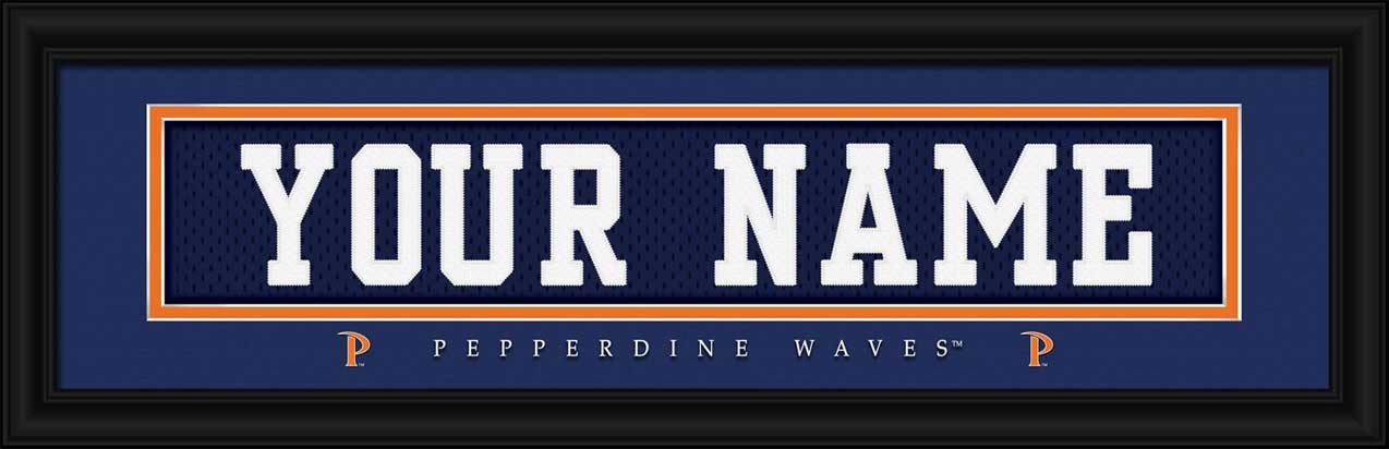 College - Pepperdine Waves - Personalized Jersey Nameplate - Framed Picture