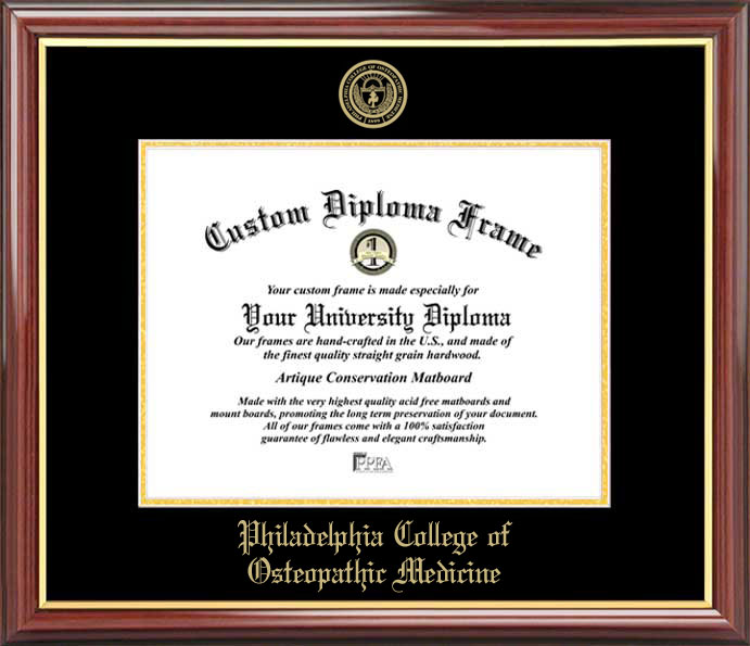 College - Philadelphia College of Osteopathic Medicine  - Embossed Seal - Mahogany Gold Trim - Diploma Frame