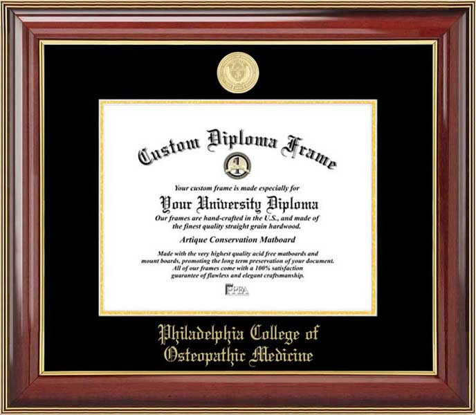 College - Philadelphia College of Osteopathic Medicine  - Gold Medallion - Mahogany Gold Trim - Diploma Frame