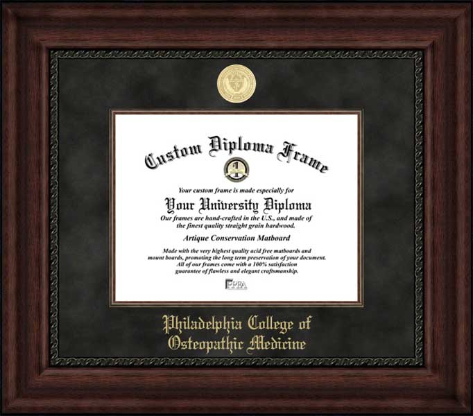 College - Philadelphia College of Osteopathic Medicine  - Gold Medallion - Suede Mat - Mahogany - Diploma Frame