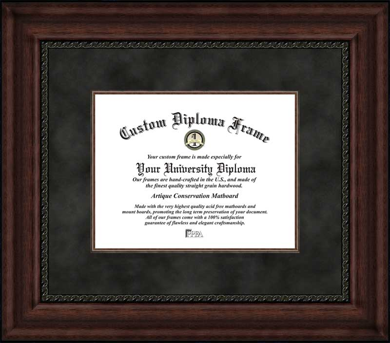 College - Plain Mat College & University  - Black Suede Mat with Fillet - Mahogany - Diploma Frame