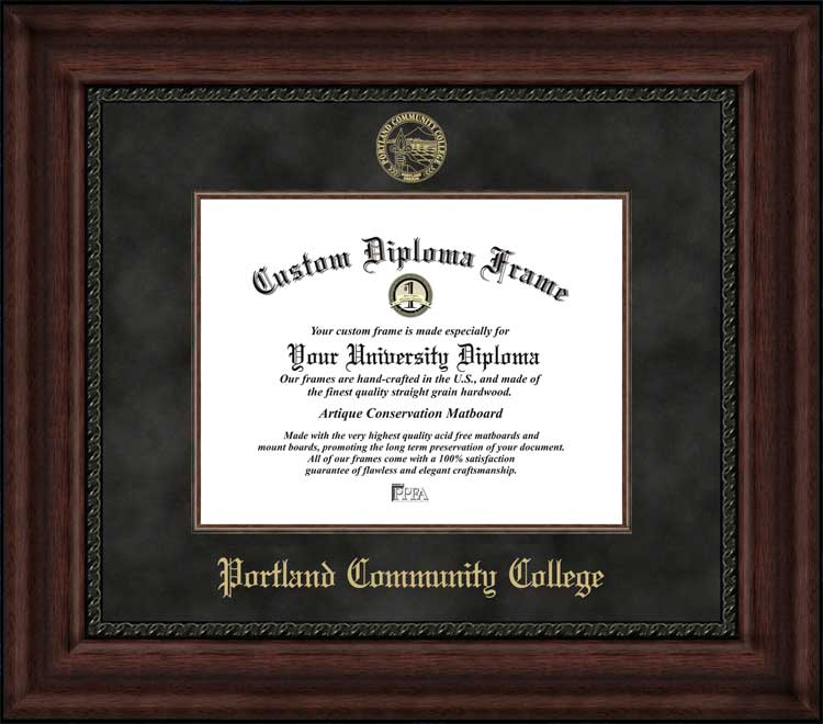 College - Portland Community College Panthers - Embossed Seal - Suede Mat - Mahogany - Diploma Frame