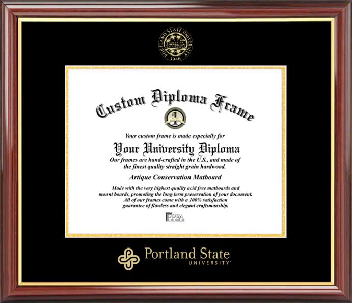 College - Portland State University Vikings - Embossed Seal - Mahogany Gold Trim - Diploma Frame