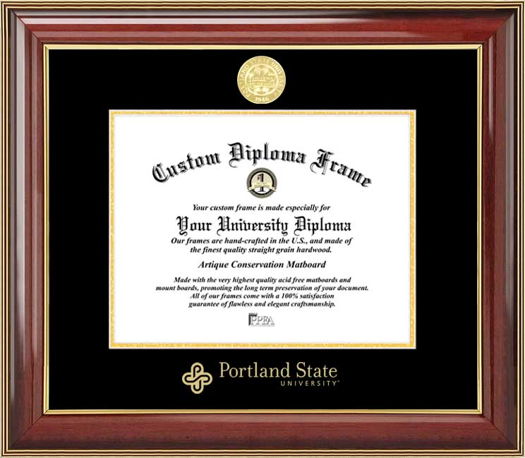 College - Portland State University Vikings - Gold Medallion - Mahogany Gold Trim - Diploma Frame
