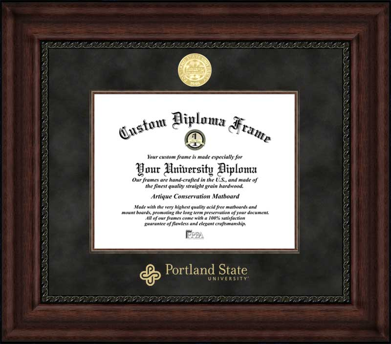 College - Portland State University Vikings - Gold Medallion - Suede Mat - Mahogany - Diploma Frame
