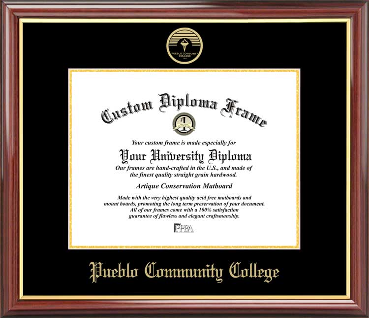 College - Pueblo Community College Panthers - Embossed Seal - Mahogany Gold Trim - Diploma Frame