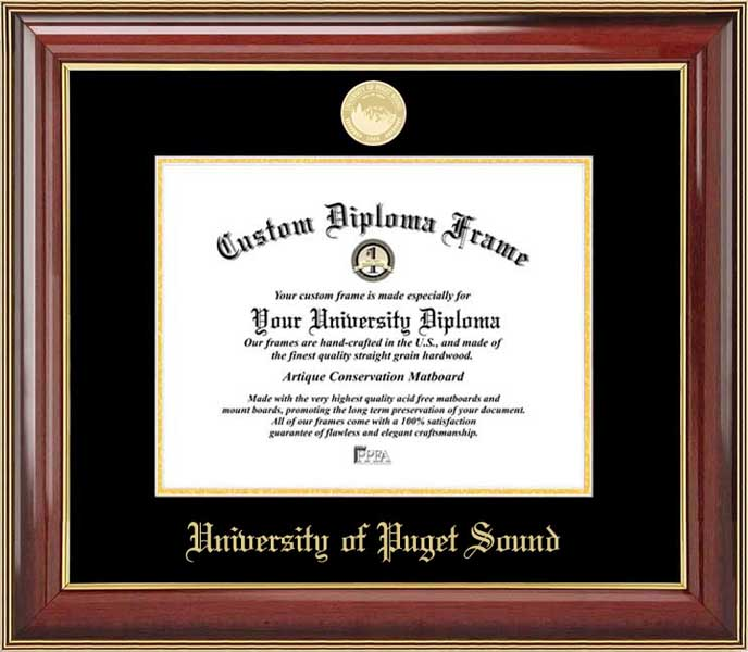 College - University of Puget Sound Loggers - Gold Medallion - Mahogany Gold Trim - Diploma Frame