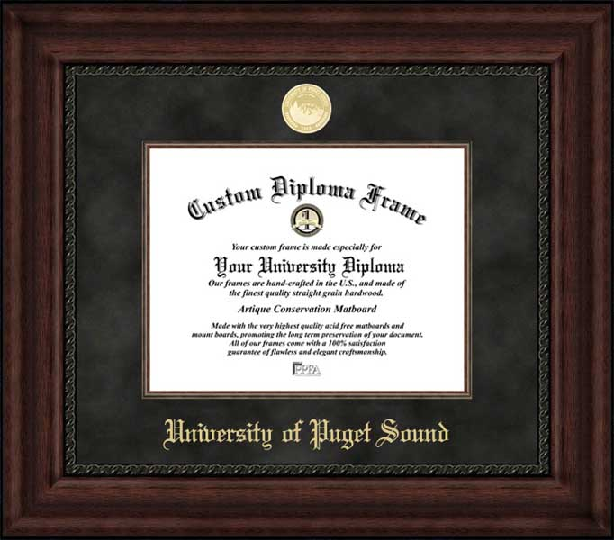 College - University of Puget Sound Loggers - Gold Medallion - Suede Mat - Mahogany - Diploma Frame