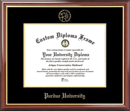 College - Purdue University Boilermakers - Embossed Seal - Mahogany Gold Trim - Diploma Frame