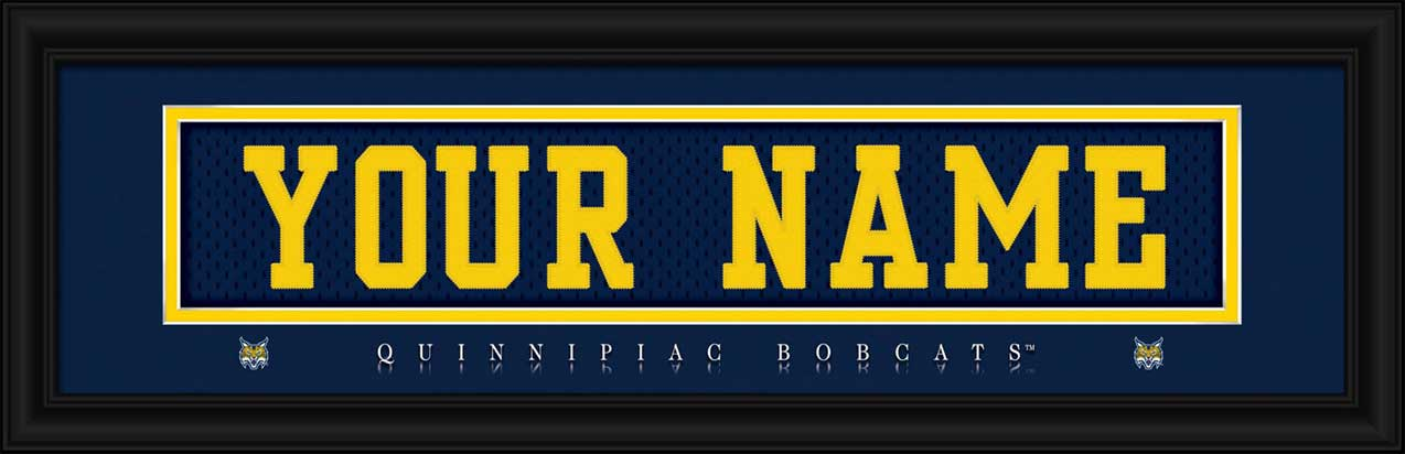 College - Quinnipiac Bobcats - Personalized Jersey Nameplate - Framed Picture