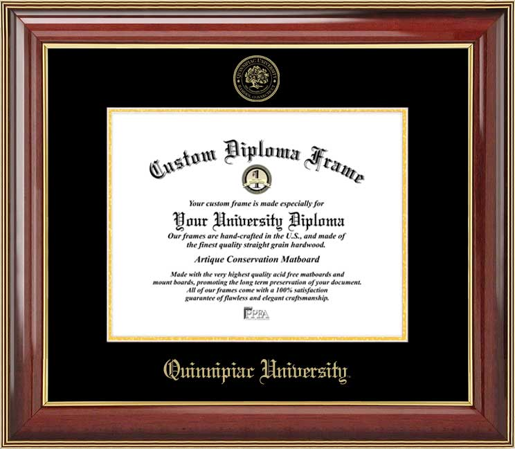 College - Quinnipiac University Bobcats - Embossed Seal - Mahogany Gold Trim - Diploma Frame