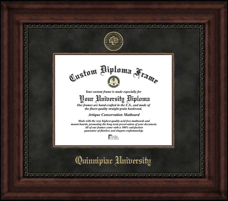 College - Quinnipiac University Bobcats - Embossed Seal - Suede Mat - Mahogany - Diploma Frame