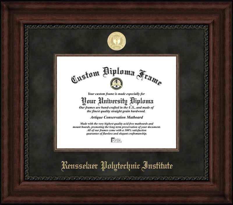 College - Rensselaer Polytechnic Institute Engineers - Gold Medallion - Suede Mat - Mahogany - Diploma Frame