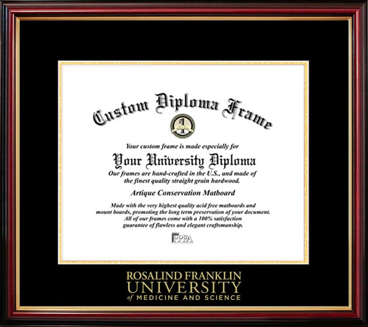 College - Rosalind Franklin University of Medicine and Science  - Embossed Seal - Mahogany Gold Trim - Diploma Frame