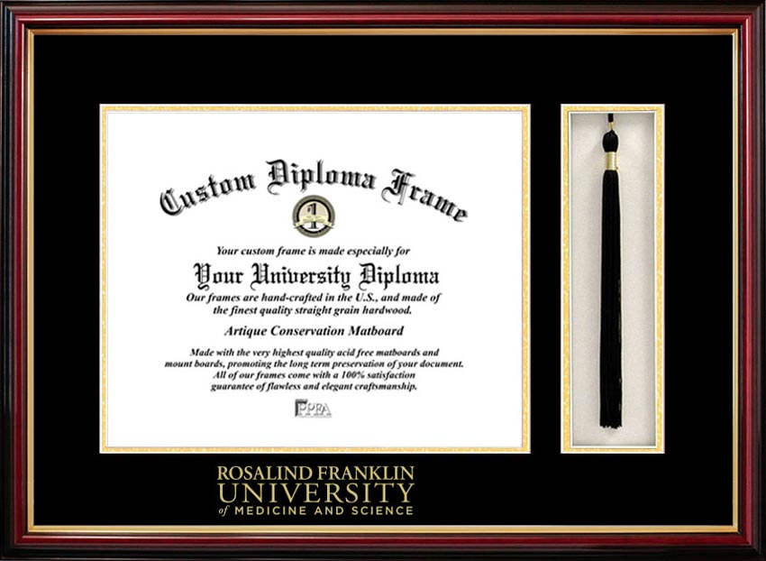 College - Rosalind Franklin University of Medicine and Science  - Embossed Seal - Tassel Box - Mahogany - Diploma Frame