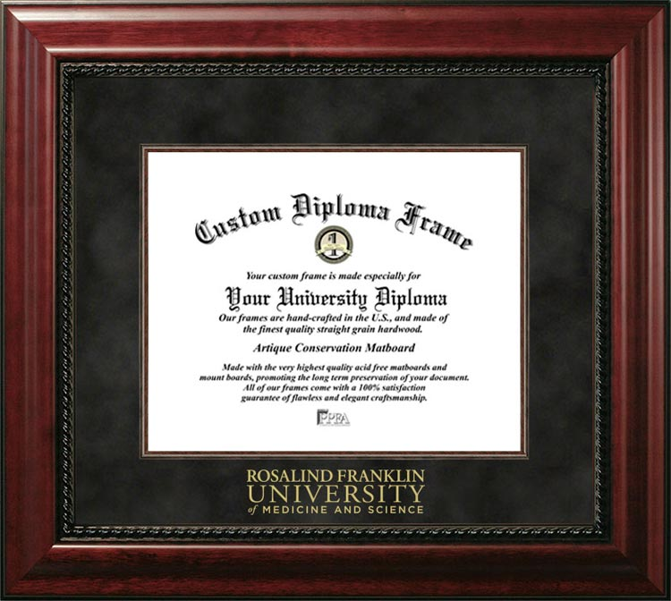 College - Rosalind Franklin University of Medicine and Science  - Gold Medallion - Suede Mat - Mahogany - Diploma Frame