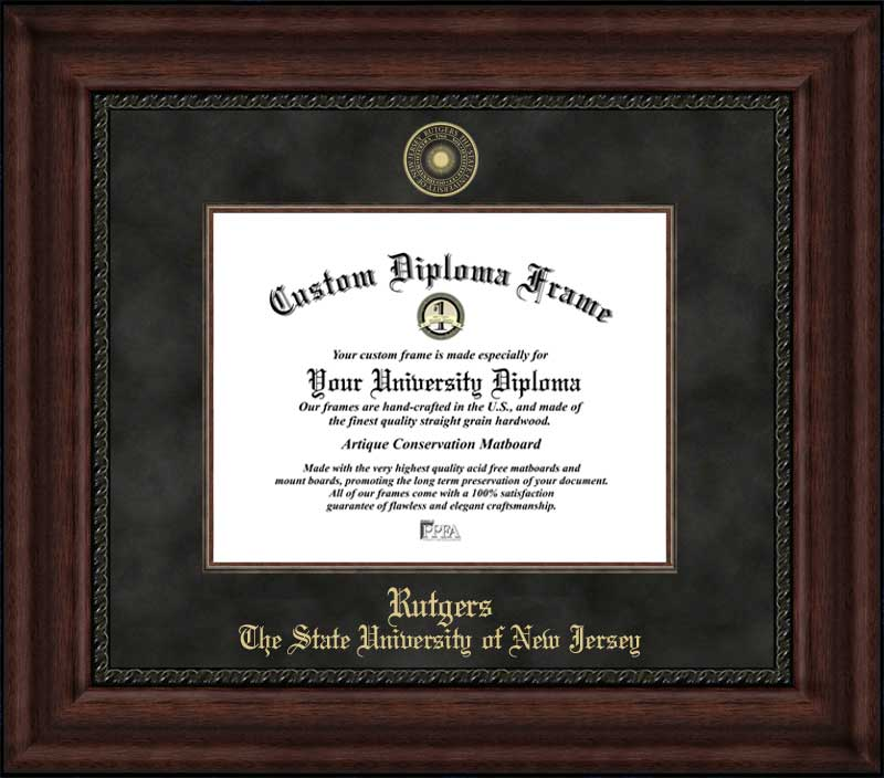 College - Rutgers University Scarlet Knights - Embossed Seal - Suede Mat - Mahogany - Diploma Frame