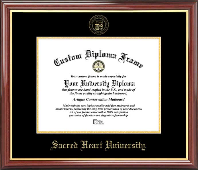 College - Sacred Heart University Pioneers - Embossed Seal - Mahogany Gold Trim - Diploma Frame