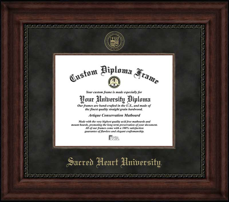 College - Sacred Heart University Pioneers - Embossed Seal - Suede Mat - Mahogany - Diploma Frame