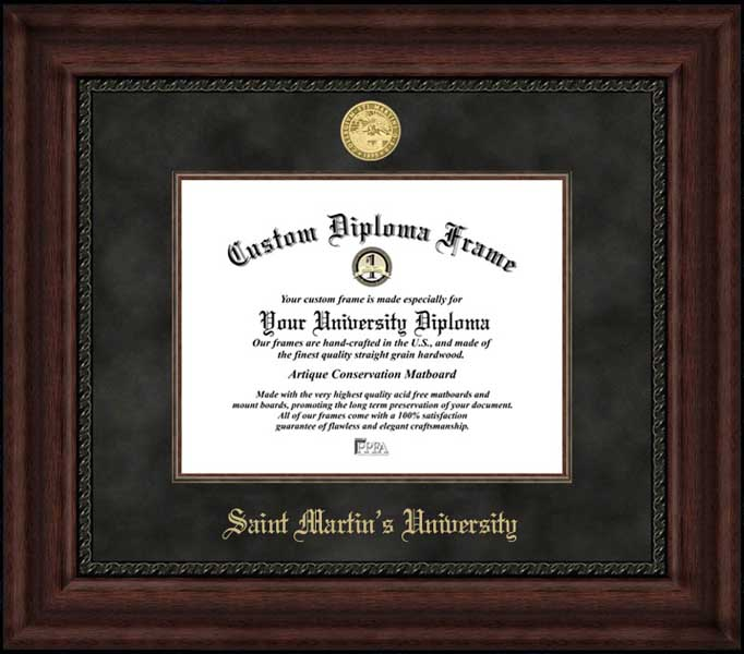 College - Saint Martin's University Saints - Gold Medallion - Suede Mat - Mahogany - Diploma Frame