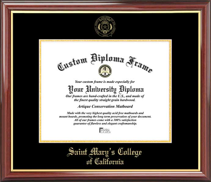 College - Saint Mary's College of California Gaels - Embossed Seal - Mahogany Gold Trim - Diploma Frame