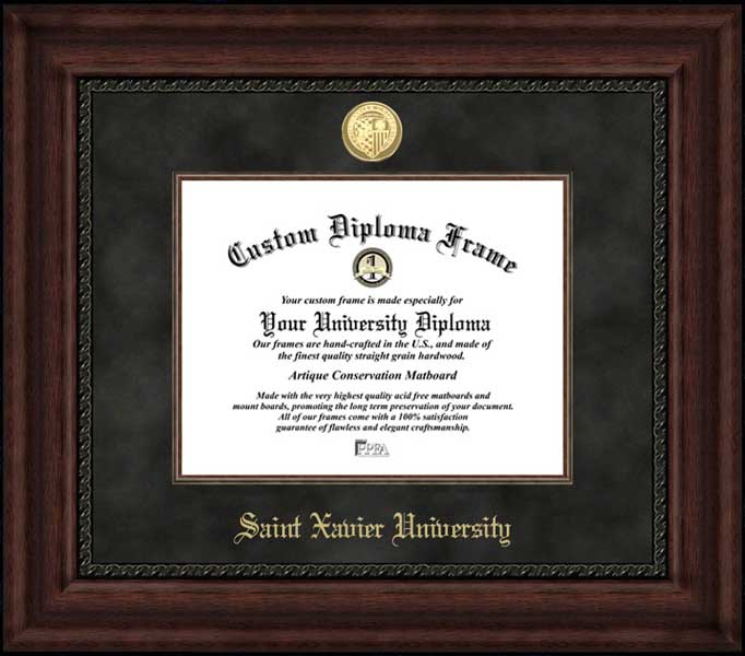 College - Saint Xavier University Cougars - Gold Medallion - Suede Mat - Mahogany - Diploma Frame