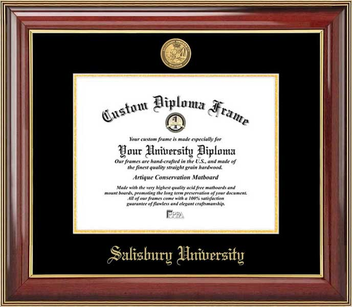 College - Salisbury University Sea Gulls - Gold Medallion - Mahogany Gold Trim - Diploma Frame