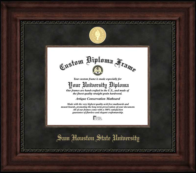 College - Sam Houston State University Bearkats - Gold Medallion - Suede Mat - Mahogany - Diploma Frame