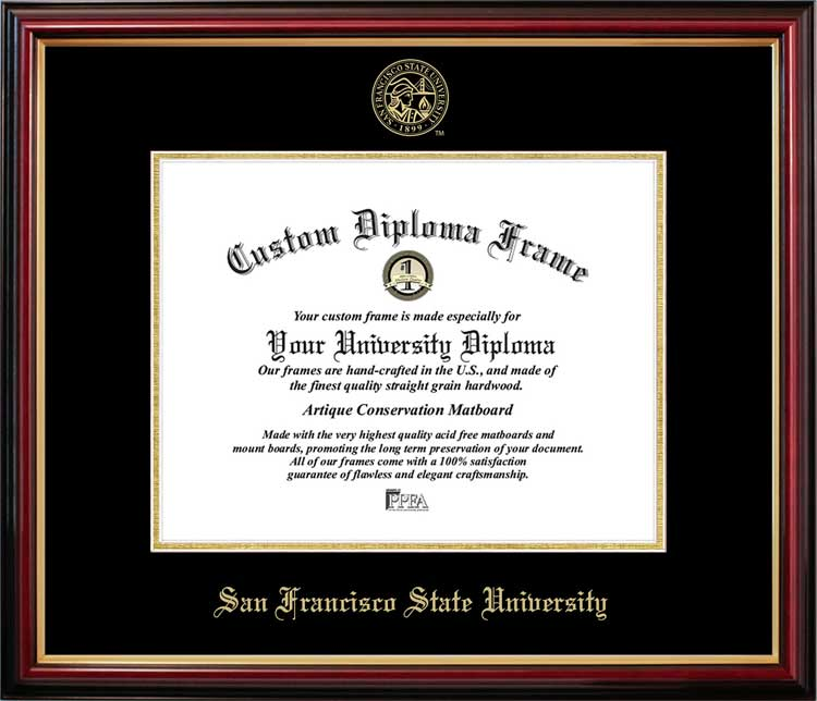 College - San Francisco State University Gators - Embossed Seal - Mahogany Gold Trim - Diploma Frame