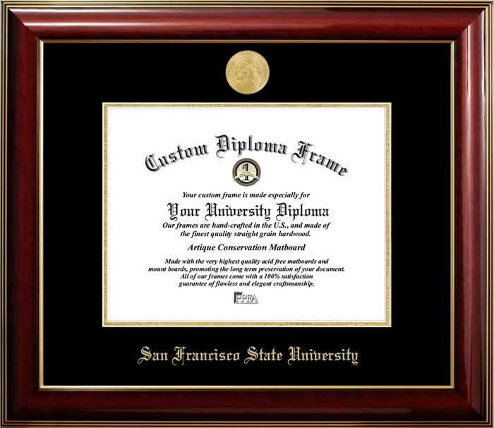 College - San Francisco State University Gators - Gold Medallion - Mahogany Gold Trim - Diploma Frame