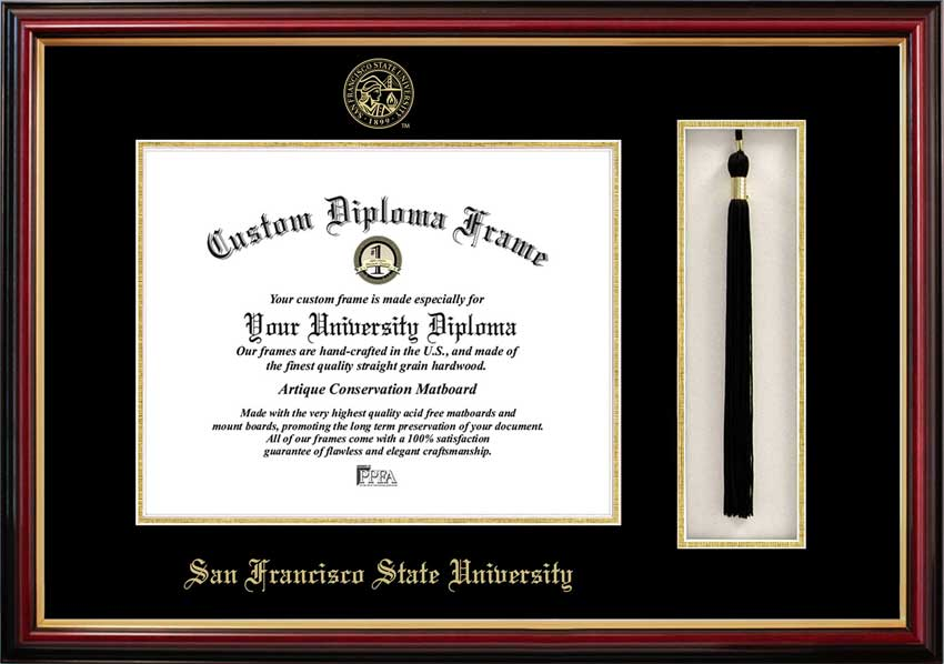 College - San Francisco State University Gators - Embossed Seal - Tassel Box - Mahogany - Diploma Frame