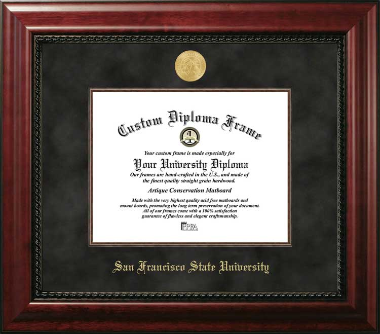 College - San Francisco State University Gators - Gold Medallion - Suede Mat - Mahogany - Diploma Frame