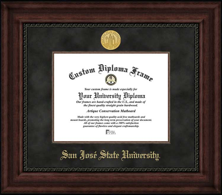 College - San Jose State University Spartans - Gold Medallion - Suede Mat - Mahogany - Diploma Frame